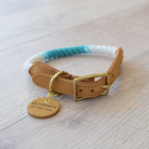 Rope Dog Collar - Teal Ombre | Original Cotton Fashion Collar