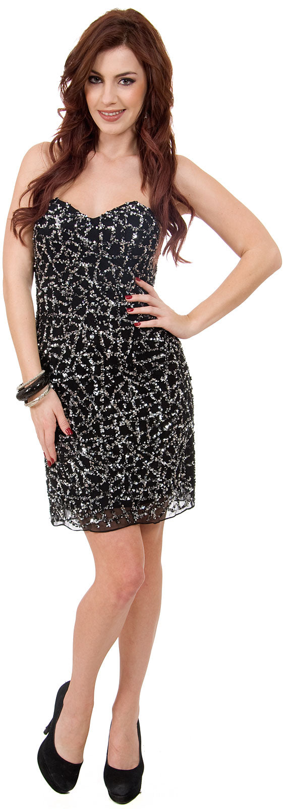 Image of Strapless Sequined Short Prom & Party Dress. in Black/Silver