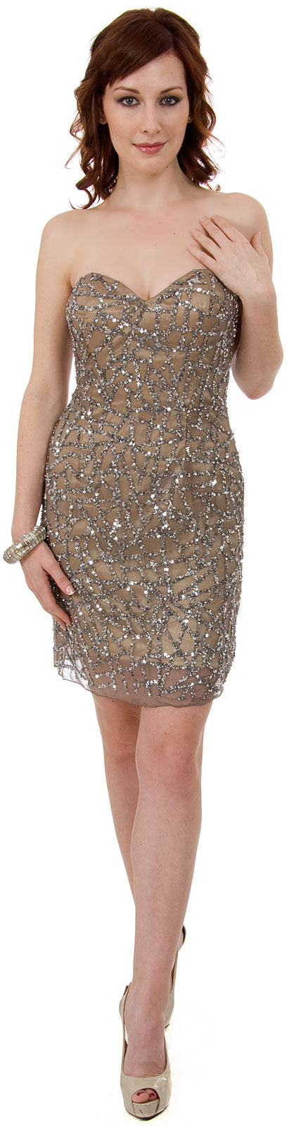 Main image of Strapless Sequined Short Prom & Party Dress.