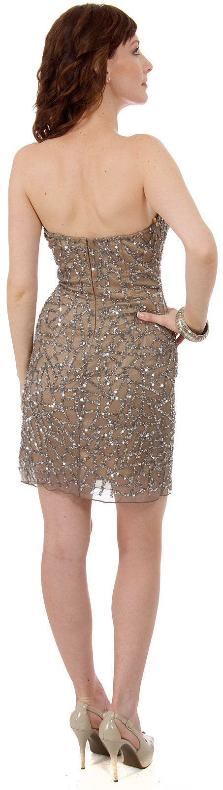 Back image of Strapless Sequined Short Prom & Party Dress.