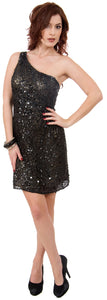 Main image of Metallic Tones One Shoulder Sequins Short Prom Dress