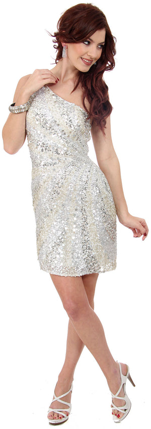 Image of Metallic Tones One Shoulder Sequins Short Prom Dress in Ivory/Silver