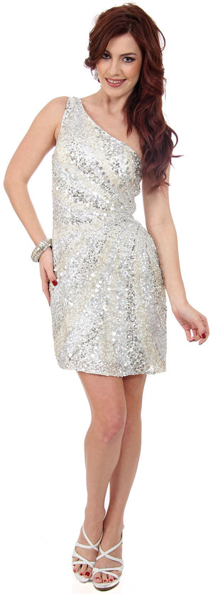 Image of Metallic Tones One Shoulder Sequins Short Prom Dress in alternative picture