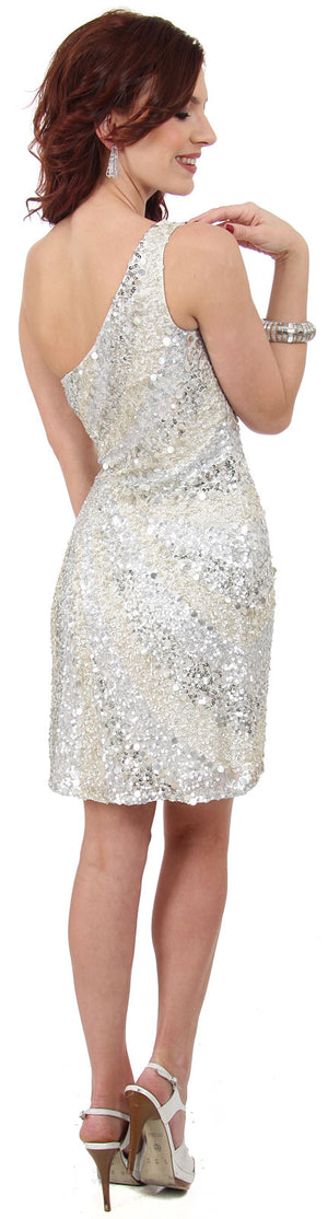 Back image of Metallic Tones One Shoulder Sequins Short Prom Dress