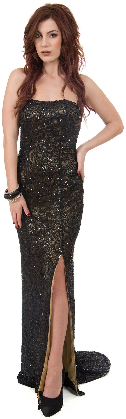 Main image of Strapless Beaded Formal Prom Dress With Train & Front Slit