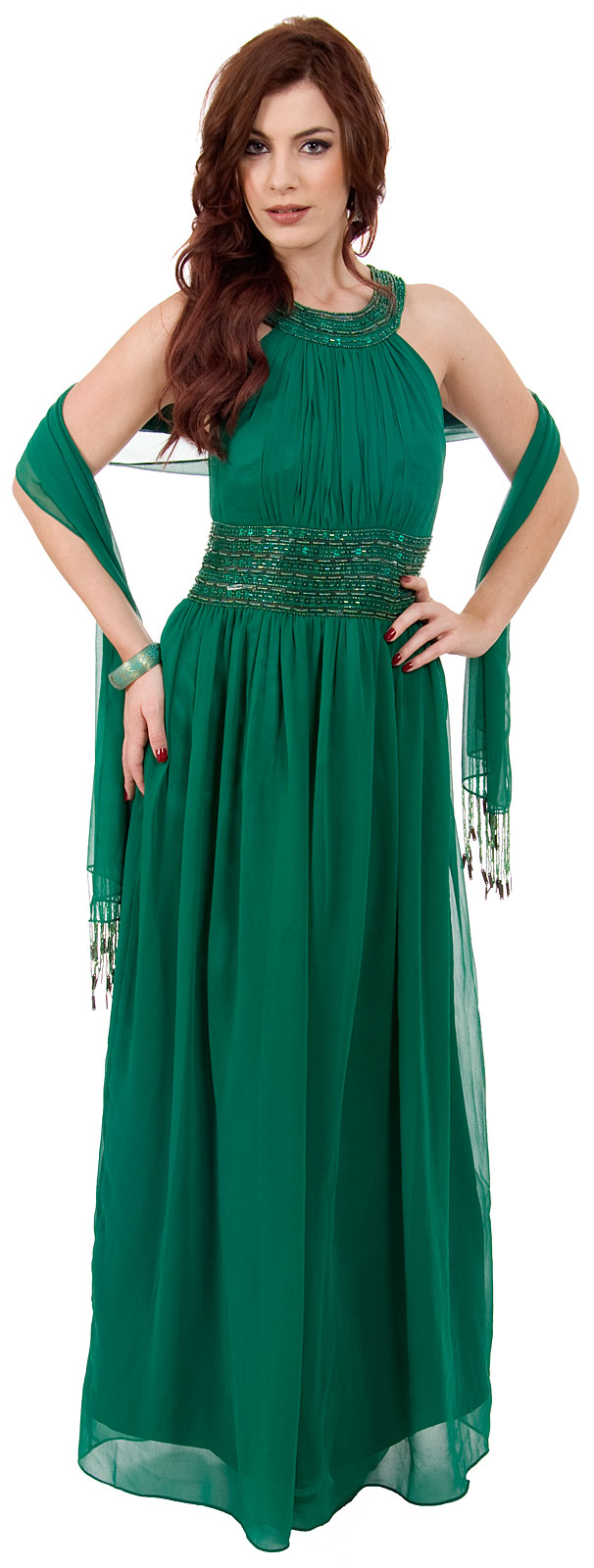 Image of Roman Empire Long Formal Dress With Beaded Straps & Waist in alternative picture