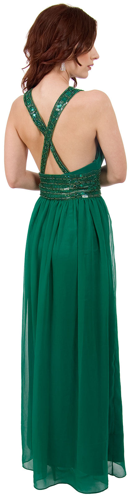 Back image of Roman Empire Long Formal Dress With Beaded Straps & Waist