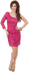 Main image of One Sleeve Fully Sequined Short Prom Party Dress
