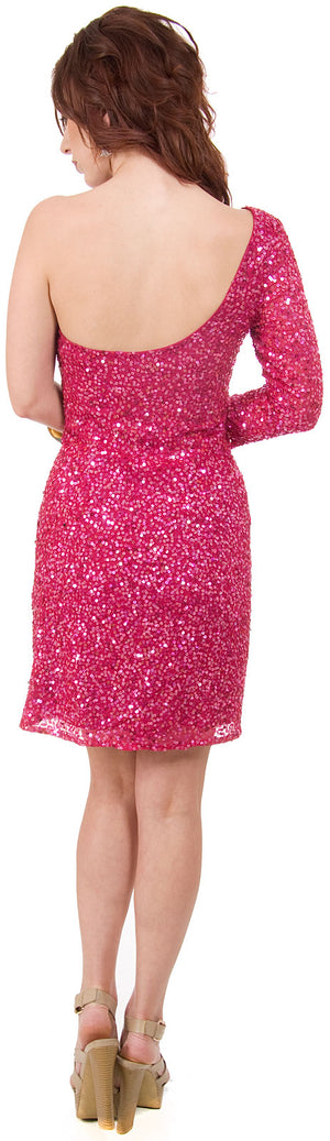 Back image of One Sleeve Fully Sequined Short Prom Party Dress