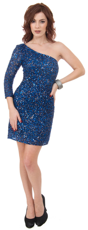 Image of One Sleeve Fully Sequined Short Prom Party Dress  in Royal Blue