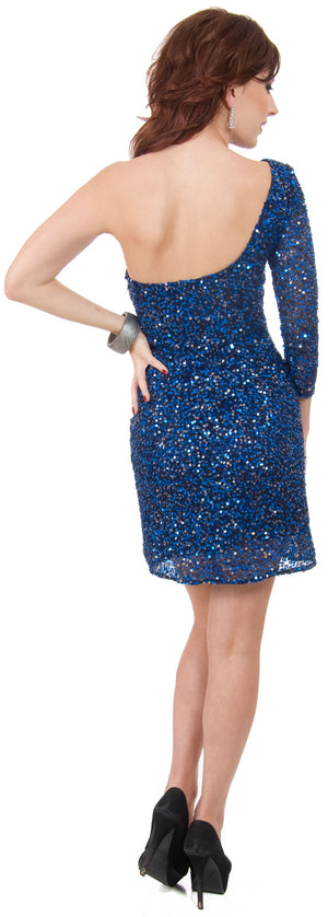 Image of One Sleeve Fully Sequined Short Prom Party Dress  back in Royal Blue