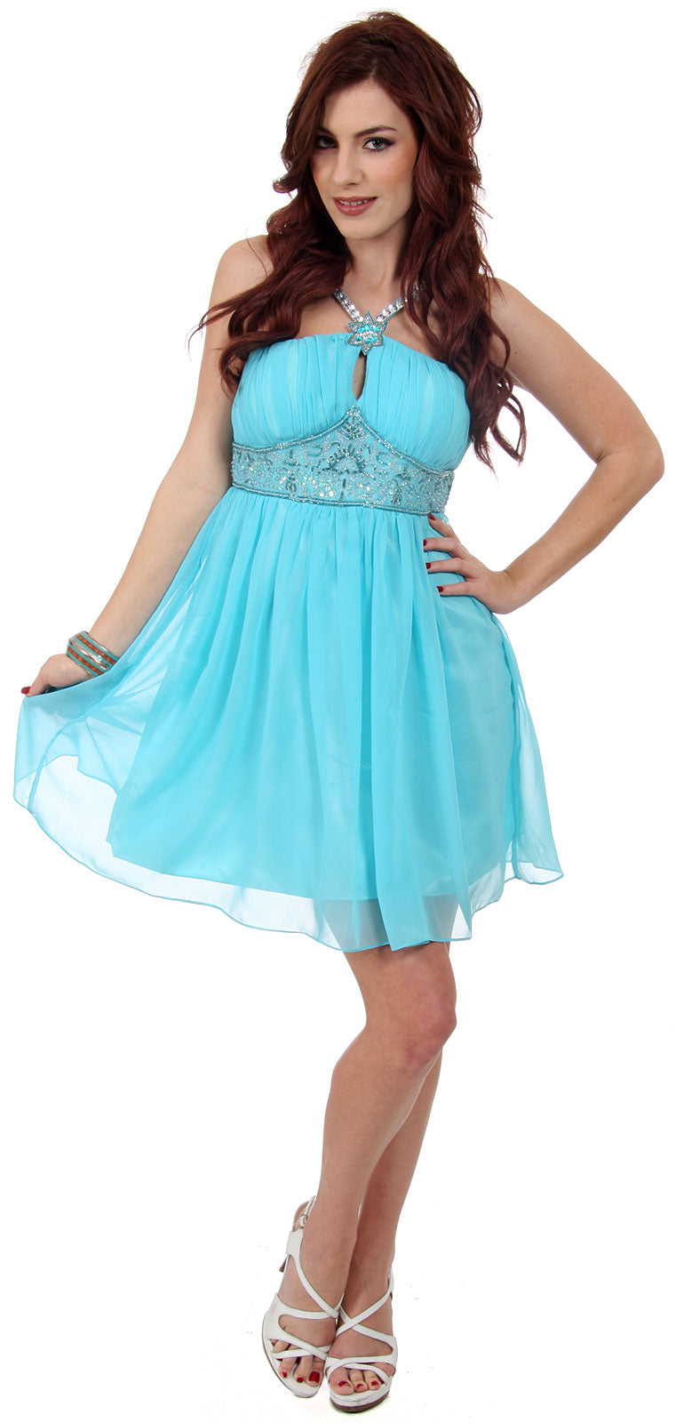 Main image of Halter Neck Shirred & Beaded Short Party Dress