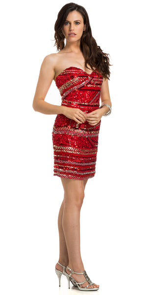 Image of Strapless Sequined Short Prom Dress With Artistic Pattern in an alternative image