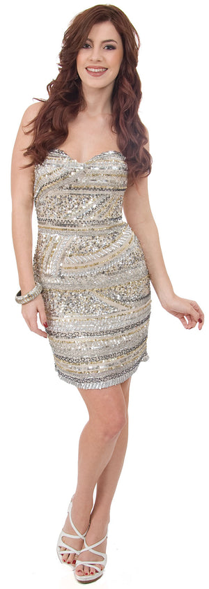 Image of Strapless Sequined Short Prom Dress With Artistic Pattern in Silver