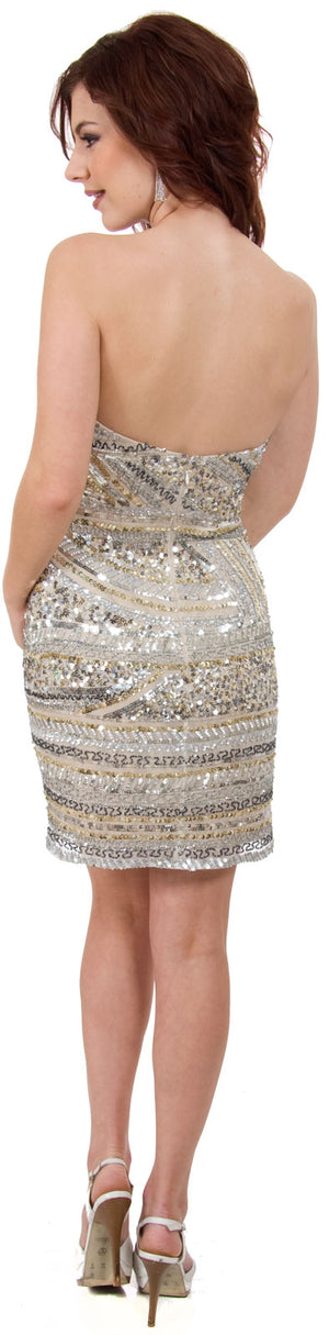 Image of Strapless Sequined Short Prom Dress With Artistic Pattern back in Silver