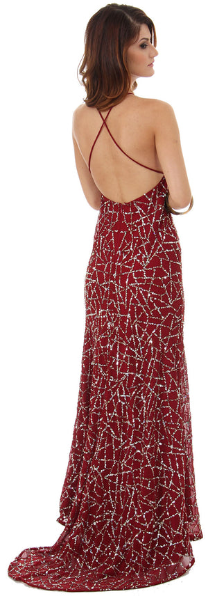 Image of Halter Neck Sequined Long Formal Prom Dress With Train back in Burgundy