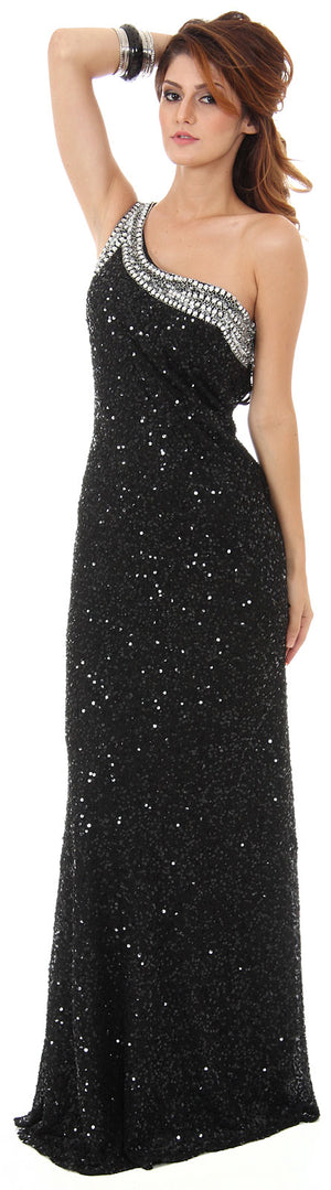 Image of One Shoulder Bare Back Sequined Long Formal Prom Dress in alternative picture