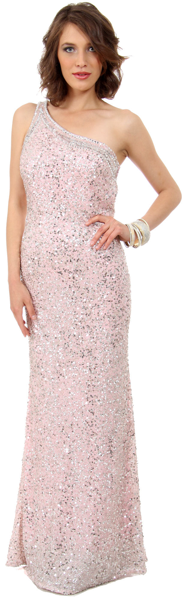 Image of One Shoulder Bare Back Sequined Long Formal Prom Dress in an alternative picture