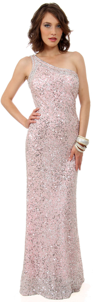 Image of One Shoulder Bare Back Sequined Long Formal Prom Dress in Pink/Silver