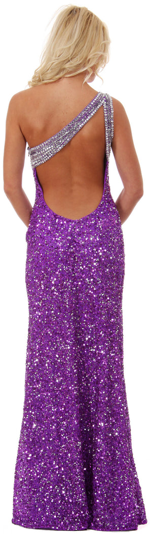 Back image of One Shoulder Bare Back Sequined Long Formal Prom Dress