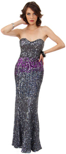 Image of Strapless Exquisitely Sequined Long Formal Prom Dress  in Charcoal/Purple