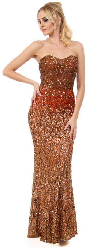 Main image of Strapless Exquisitely Sequined Long Formal Prom Dress