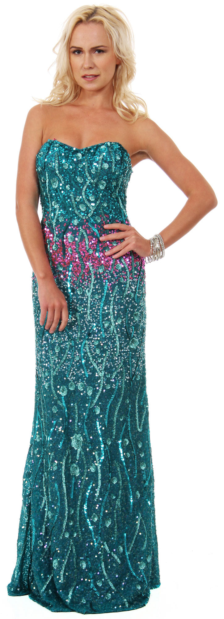 Image of Strapless Exquisitely Sequined Long Formal Prom Dress  in Emerald Green/Fuchsia