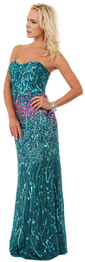 Image of Strapless Exquisitely Sequined Long Formal Prom Dress  in an alternative picture