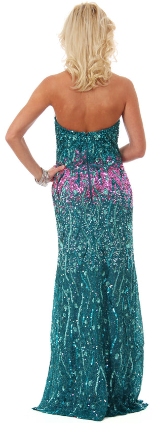 Image of Strapless Exquisitely Sequined Long Formal Prom Dress  back in Emerald Green/Fuchsia