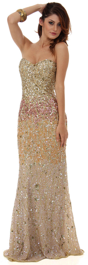 Image of Strapless Exquisitely Sequined Long Formal Prom Dress  in Gold