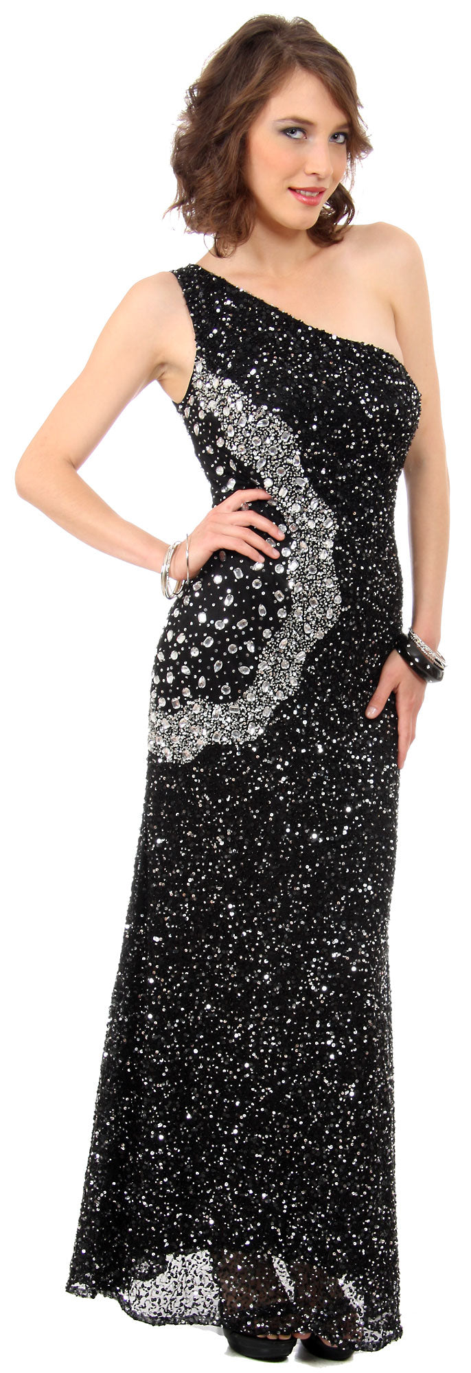 Image of Long Sequined Formal Prom Dress With Rhinestones Waist in Black/Silver