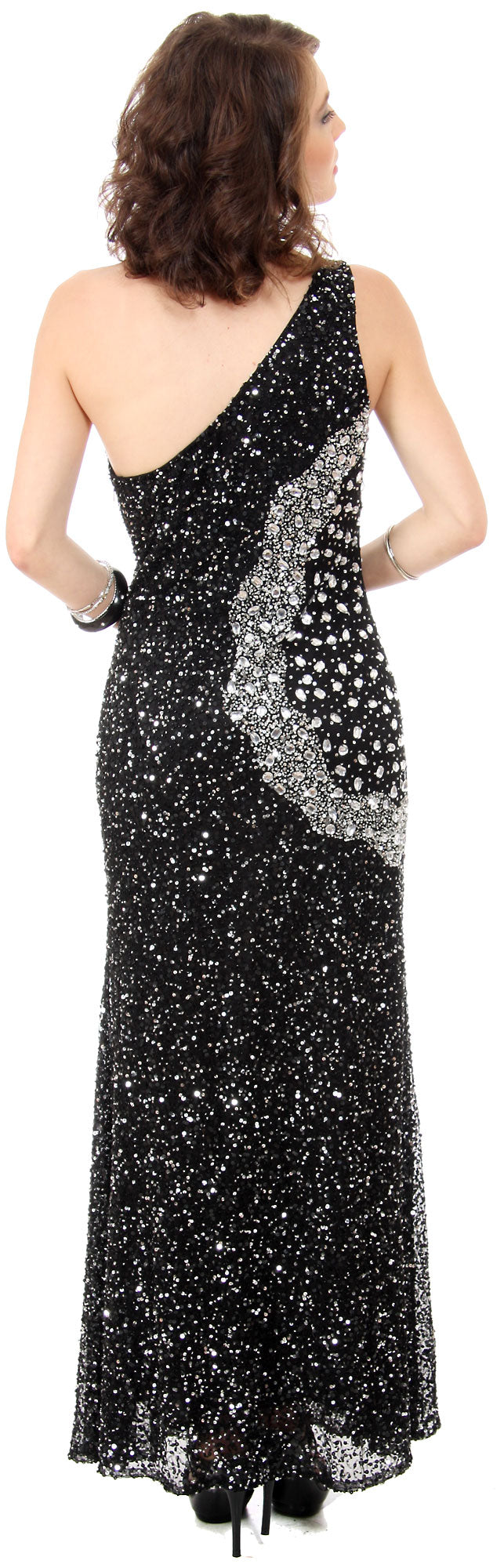 Image of Long Sequined Formal Prom Dress With Rhinestones Waist back in Black/Silver