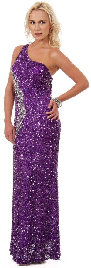 Main image of Long Sequined Formal Prom Dress With Rhinestones Waist