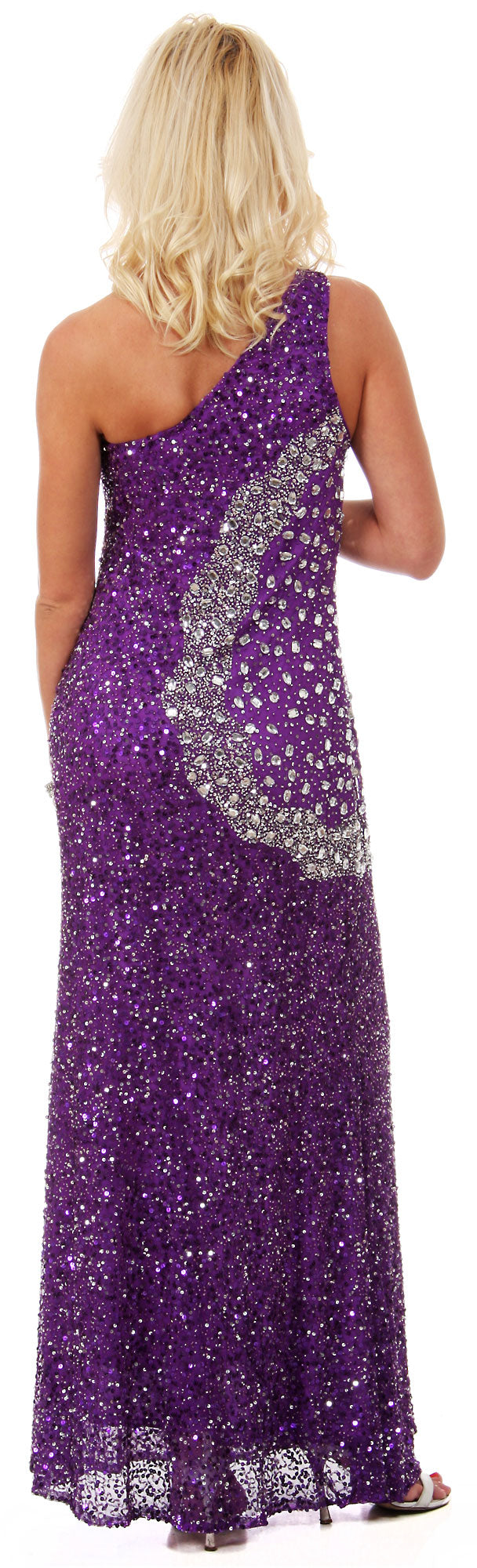 Back image of Long Sequined Formal Prom Dress With Rhinestones Waist
