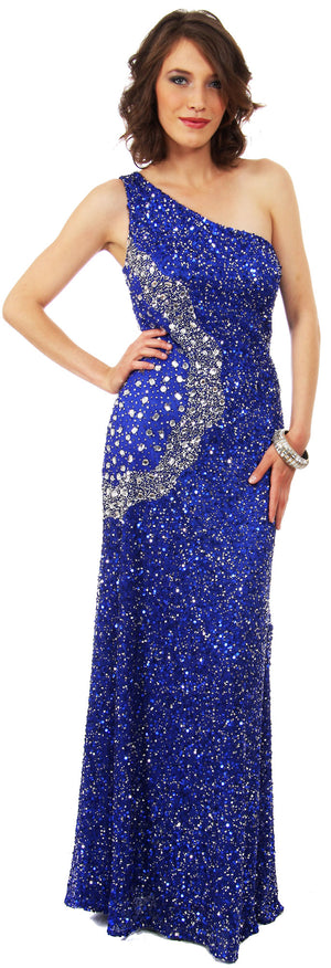 Image of Long Sequined Formal Prom Dress With Rhinestones Waist in Royal/Silver