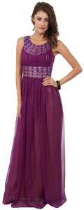 Main image of Round Neck Empire Cut Sequined Floor Length Prom Dress
