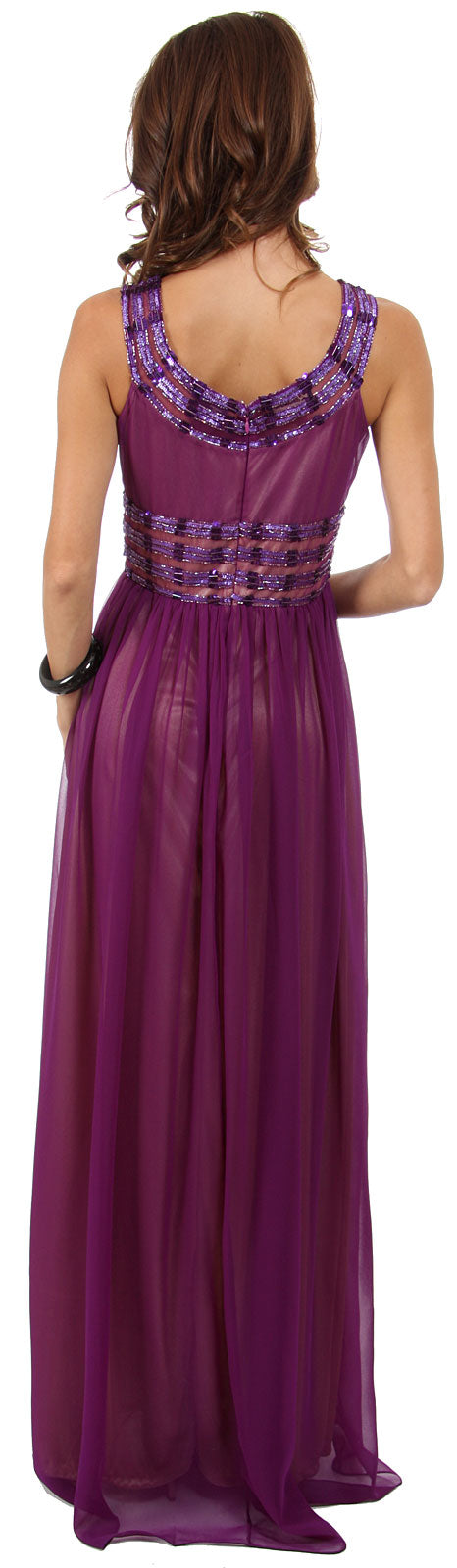 Back image of Round Neck Empire Cut Sequined Floor Length Prom Dress