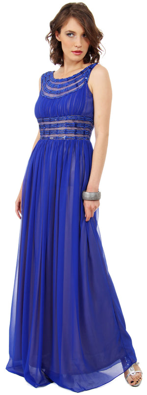 Image of Round Neck Empire Cut Sequined Floor Length Prom Dress in Royal Blue/Gold