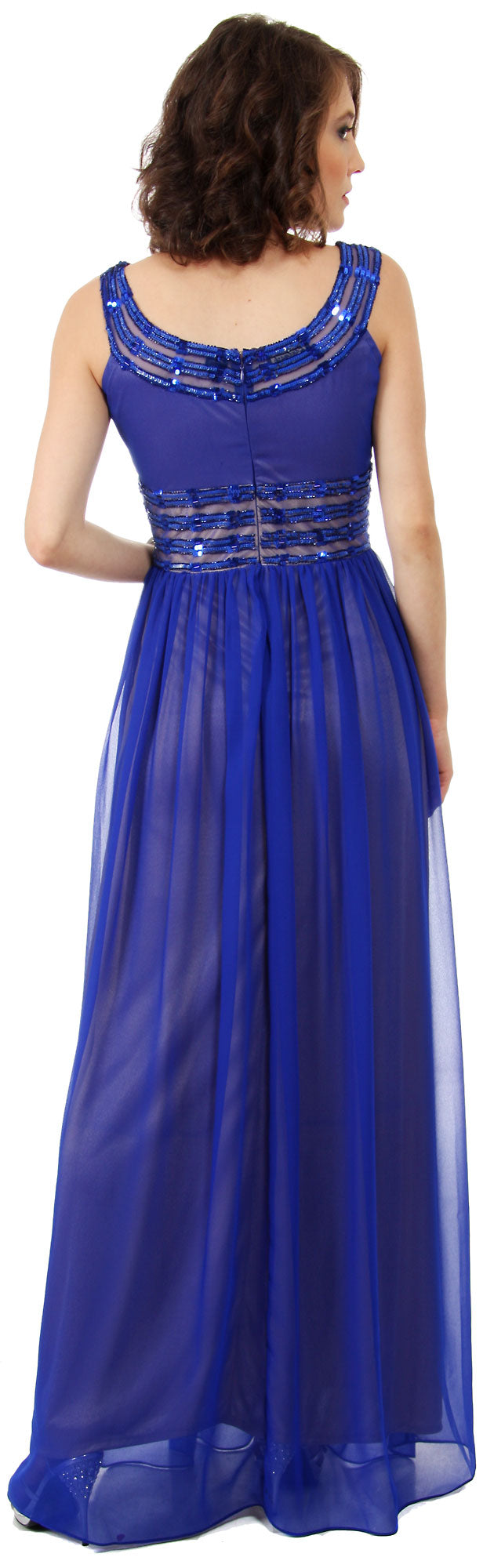 Image of Round Neck Empire Cut Sequined Floor Length Prom Dress back in Royal Blue/Gold