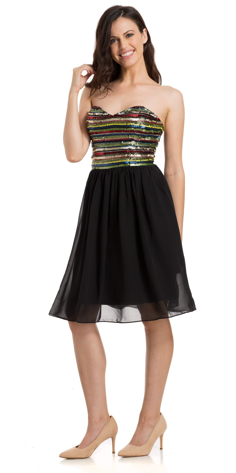 Main image of Strapless Sweetheart Neck Knee Length Cocktail Party Dress