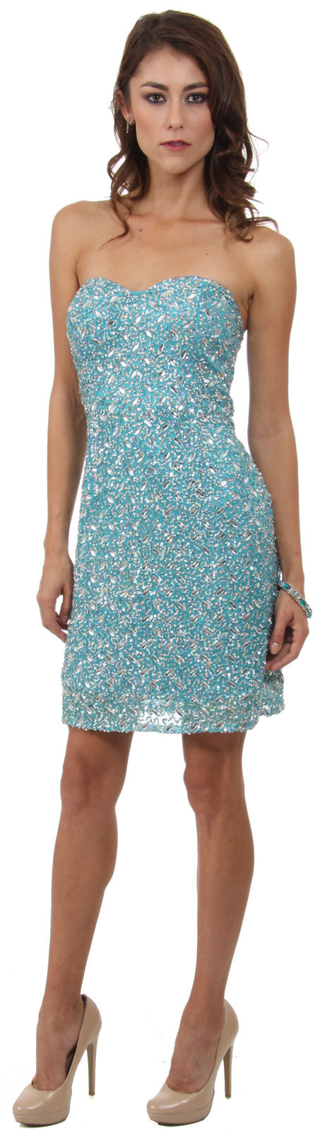 Image of Strapless Sweetheart Neck Short Beaded Prom Dress  in Turquoise