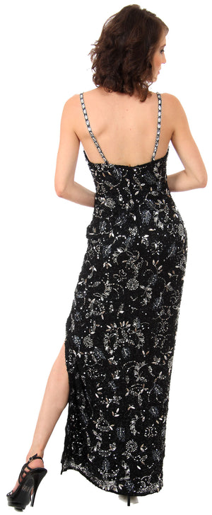 Back image of Strapless Sequins & Rhinestones Long Formal Dress With Slit