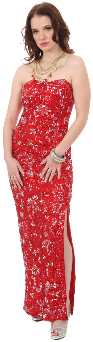 Image of Strapless Sequins & Rhinestones Long Formal Dress With Slit in Red/Silver