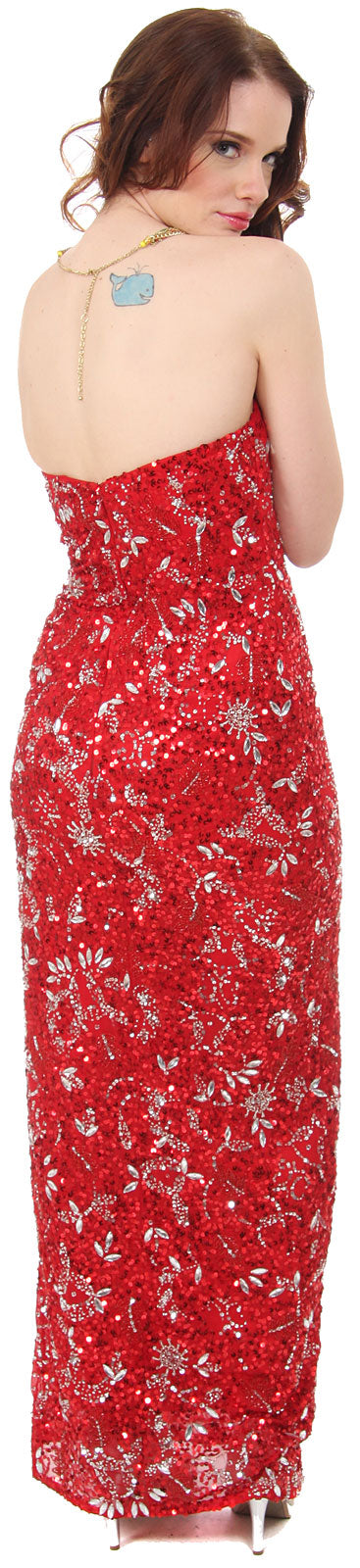 Image of Strapless Sequins & Rhinestones Long Formal Dress With Slit back in Red/Silver