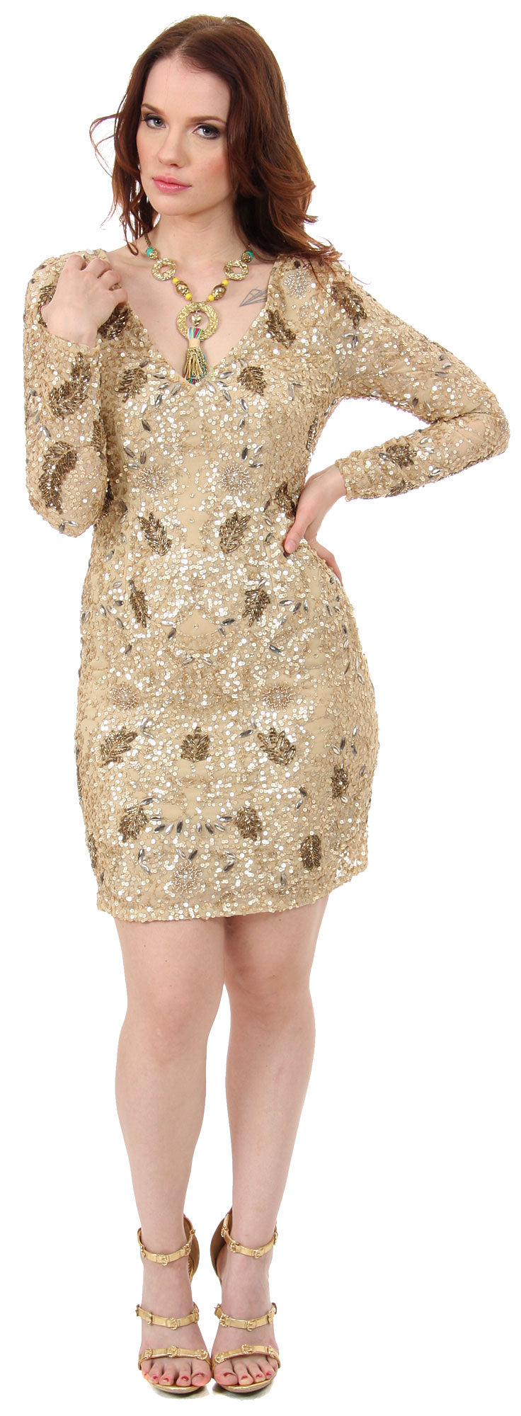 Image of V-neck Full Sleeves Short Sequin Beaded Party Prom Dress in Gold/Copper