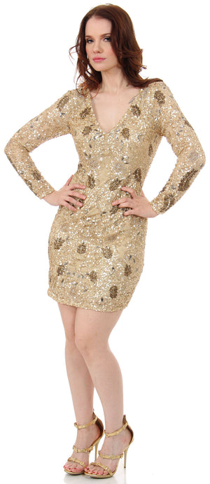 Image of V-neck Full Sleeves Short Sequin Beaded Party Prom Dress in an alternative picture