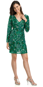 Main image of V-neck Full Sleeves Short Sequin Beaded Party Prom Dress