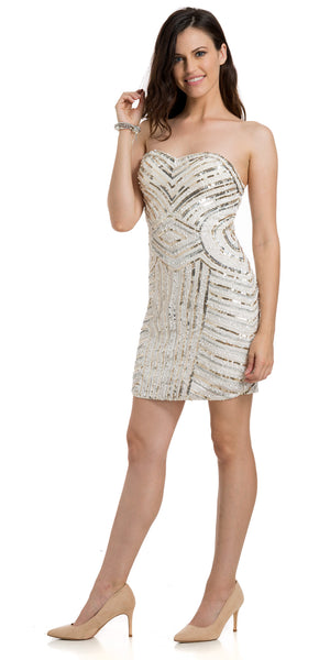 Image of Strapless Short Geometric Sequins Pattern Party Prom Dress in an alternative picture
