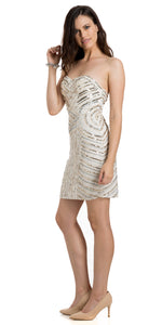 Main image of Strapless Short Geometric Sequins Pattern Party Prom Dress