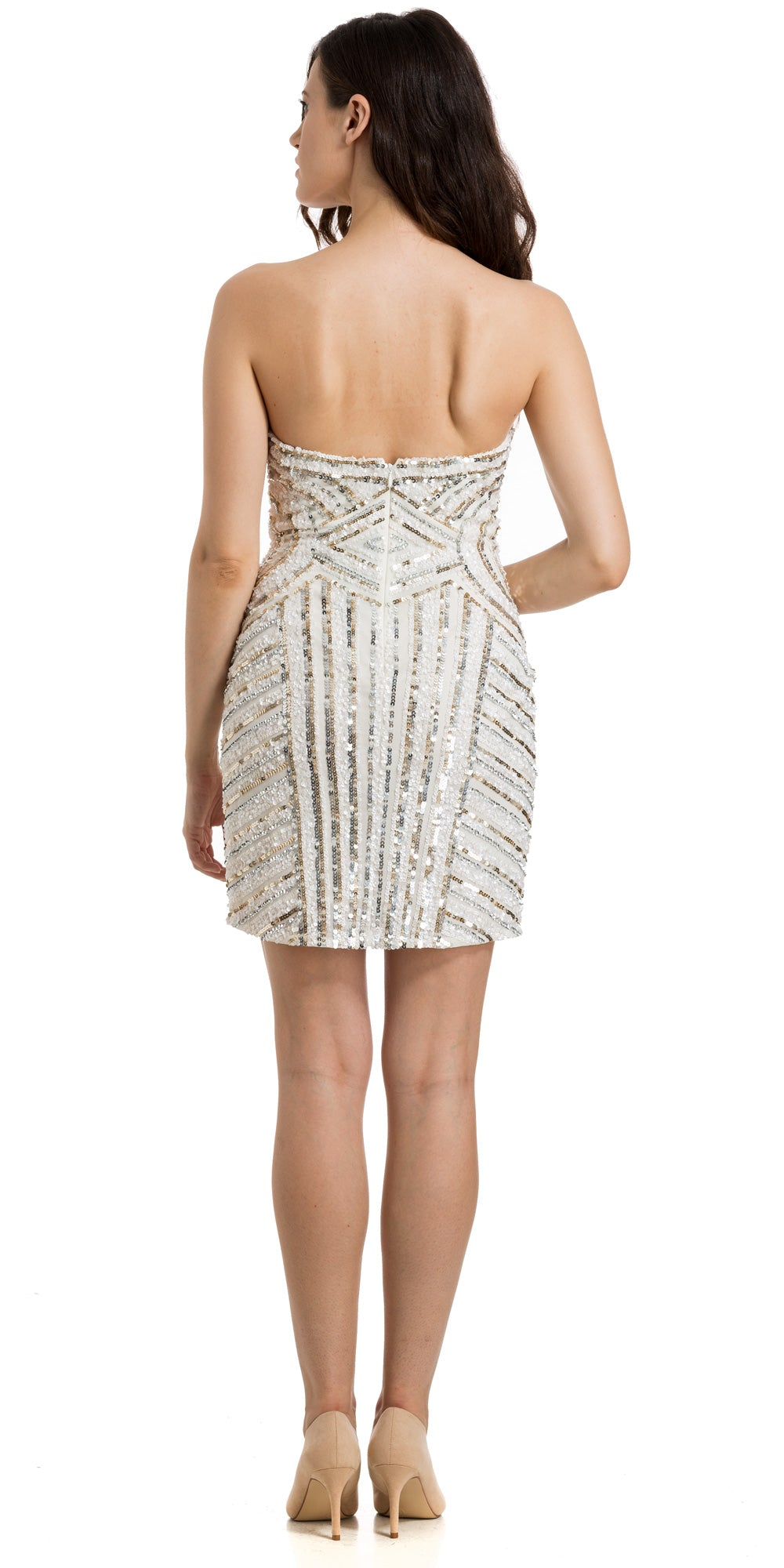 Back image of Strapless Short Geometric Sequins Pattern Party Prom Dress